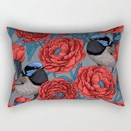 Peonies and wrens Rectangular Pillow