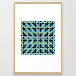 INTERLOCKING SQUARES, BLUES & GREENS Framed Art Print