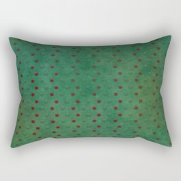 """Porstroke, Teal Shade Pattern & Red polka dots"" Rectangular Pillow"
