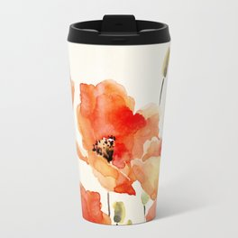 Poppy Flower Meadow- Floral Summer lllustration Travel Mug