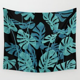 Graphic Monstera leaves. Wall Tapestry