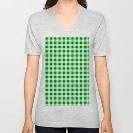 Gingham Green and White Pattern Unisex V-Neck