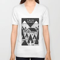 twin peaks V-neck T-shirts featuring Twin Peaks by Ana Albero
