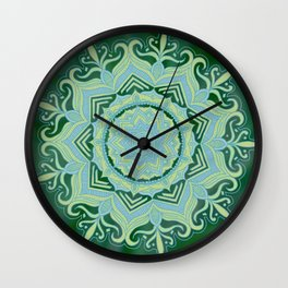 Green Swirl Mandala Wall Clock