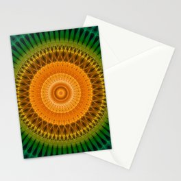 Green and yellow spikes mandala Stationery Cards