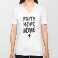 pocketfuel V-neck T-shirts featuring Faith Hope Love by Pocket Fuel