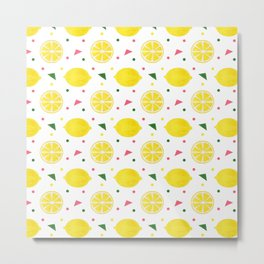 Sunshine yellow watercolor tropical lemon triangles dots pattern Metal Print