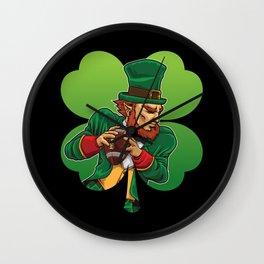 American Football Leprechaun - Lucky Irish Wall Clock