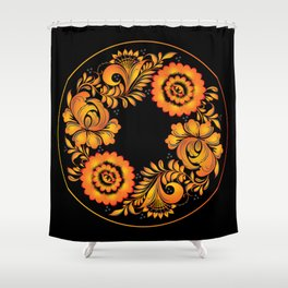Floral khokhloma folk Shower Curtain