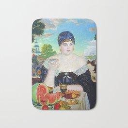MERCHANT'S WIFE AT TEA - BORIS KUSTODIEV Bath Mat