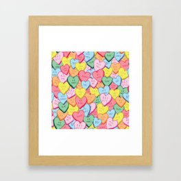Candy Hearts Multicolour Framed Art Print