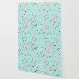 Turquoise and Rosegold Glitter Terrazzo Wallpaper