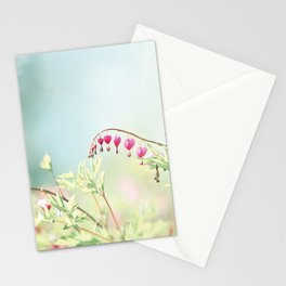Bleeding Heart Flower Photography, Pink Blue Green Aqua Pastel, Floral Nursery Nature Spring Stationery Cards