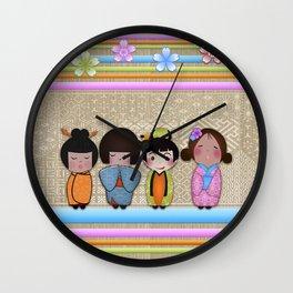 4 kokeshi dolls Wall Clock