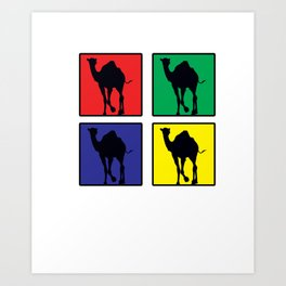 Awesome Retro Colorful Pop Art Camel Desert Animals Art Print