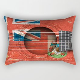Old Vintage Acoustic Guitar with Bermuda Flag Rectangular Pillow
