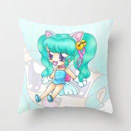 Neko Doll Throw Pillow