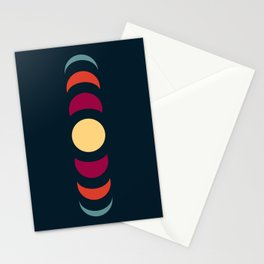 Minimal Abstract 70s Retro Style Moon Phase - Chikayu Stationery Cards