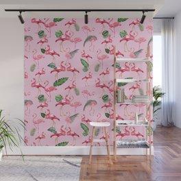 Flamingos Love Pattern 2 Wall Mural