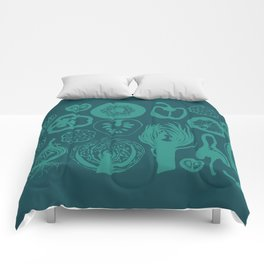 Adorned Fruit and Vegetable Box in Dark Teal and Teal Comforters