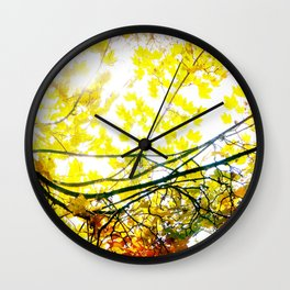 Lovely Autumn Leaves Tree Branch Nature - Canvas Texture Wall Clock