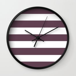 Eggplant - solid color - white stripes pattern Wall Clock