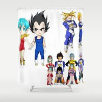 vegeta Shower Curtains featuring Vegeta FAMILY  by Lee Chao Charlie Vang