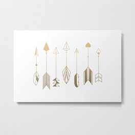 Be Brave Little Arrow (gold) Metal Print