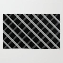 Gray White Square Pattern Geomeric Rug