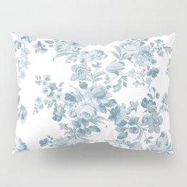 Vintage blue white bohemian elegant floral Pillow Sham