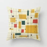 mid century Throw Pillows featuring Mid-Century Modern by Studio Fibonacci