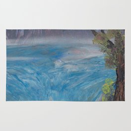 Waterfall and Distant Mountains - Spray Paint Art Rug