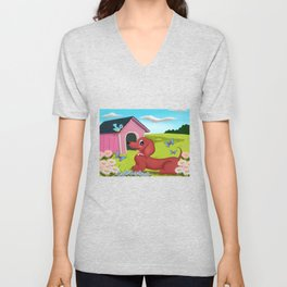 Daisies and A Dachshund Unisex V-Neck