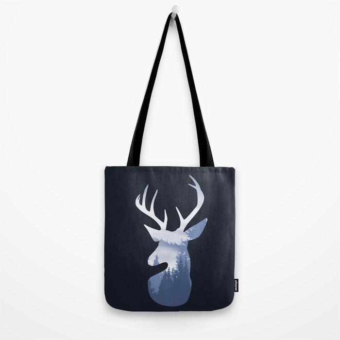 Deer Abstract Blue Landscape Design Tote Bag