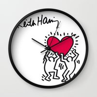 keith haring Wall Clocks featuring Keith Allen Haring Shirt by cvrcak