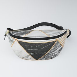 Marble Triangles 2 - Black and White Fanny Pack