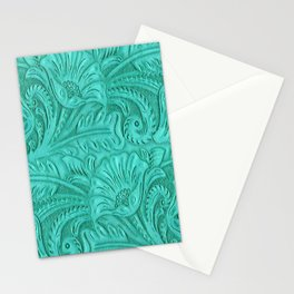 Turquoise Tooled Leather Print Stationery Cards
