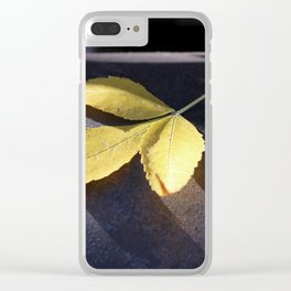 Yellow Leaf on Leather Surface Clear iPhone Case