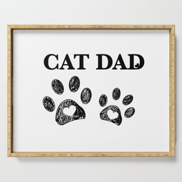 Cat Dad text. Doodle cat paw print and heart Serving Tray