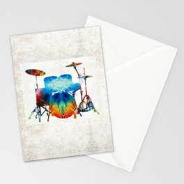 Drum Set Art - Color Fusion Drums - By Sharon Cummings Stationery Cards
