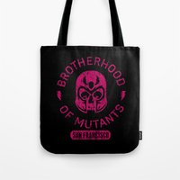 xmen Tote Bags featuring Bad Boy Club: Brotherhood of Mutants  by Josh Ln