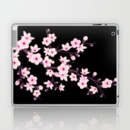 Cherry Blossom Pink Black Laptop & iPad Skin