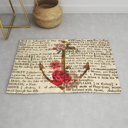 Vintage Anchor with Flowers Dictionary Art Rug