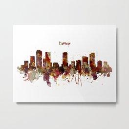 Denver Skyline Silhouette Metal Print