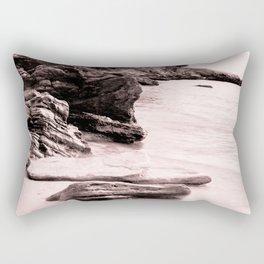 Beach days monochrome rocky shore Rectangular Pillow