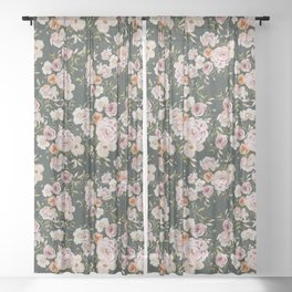 Loose Peonies and Poppies on Vintage Green Sheer Curtain