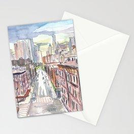 New York City Chinatown View of Manhattan Stationery Cards