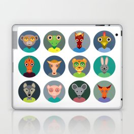 Chinese zodiac collection, Set of animals faces circle icons in Trendy Flat Style Laptop & iPad Skin