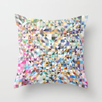 confetti Throw Pillows featuring Confetti by FRAXTURED