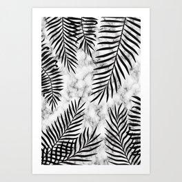 Black palm leaves on marble Art Print